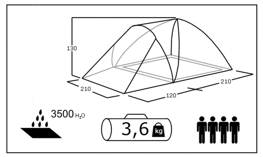 Палатка туристическая ACAMPER FURAN 3 sportmax.by